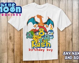 fb8b779ea6347 Pokemon Birthday Shirt Add Name & Age Pokemon Custom Birthday Party TShirt