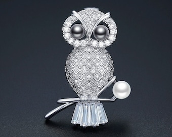 b68b1e242 Unique Owl Cubic Zirconia Statement Brooch Pin - Bird CZ Diamond Rhinestone  Crystal Brooch Pin - Animal Jewelry -Gift For Her -Pearl Jewelry