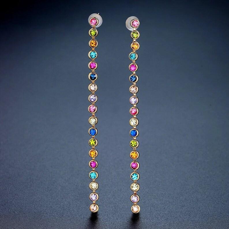 Bezel Set Colorful Rhinestone Drop Dangle Gold Earrings Rainbow Bar Earrings Long Line Earrings Stick Earrings