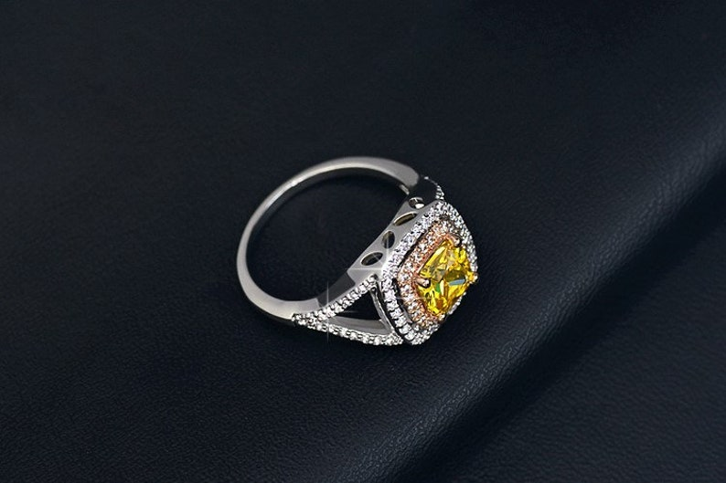 CZ Engagement Ring Halo Cushion Cut Engagement Ring Promise Ring Wedding Ring Canary Ring Cubic Zirconia Ring -Yellow Diamond Ring