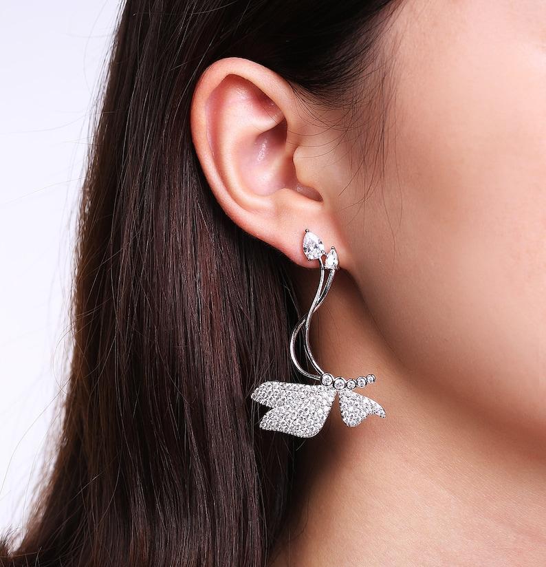 Dainty Earrings -Animal Earrings CZ Diamond Earrings Butterfly Cubic Zirconia Dangle Bar Earrings Statement Long Earrings