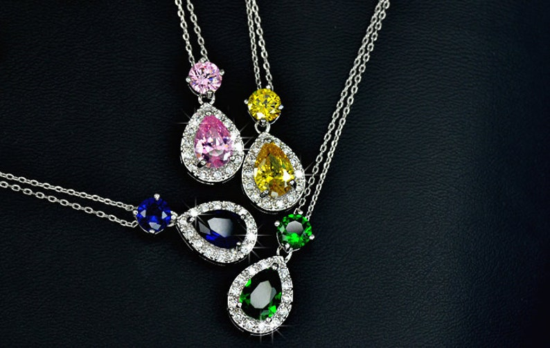 Halo Drop Crystal Pendant Necklace 4 Colors Pink Teardrop Cubic Zirconia Charm Necklace Gift For Her Bridesmaid Gift