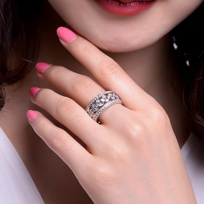 Vintage Eternity Cubic Zirconia White Gold BandRing CZ Diamond Wedding Wide Band Ring Filigree Ring Art Deco Band Ring Bezel Silver Band