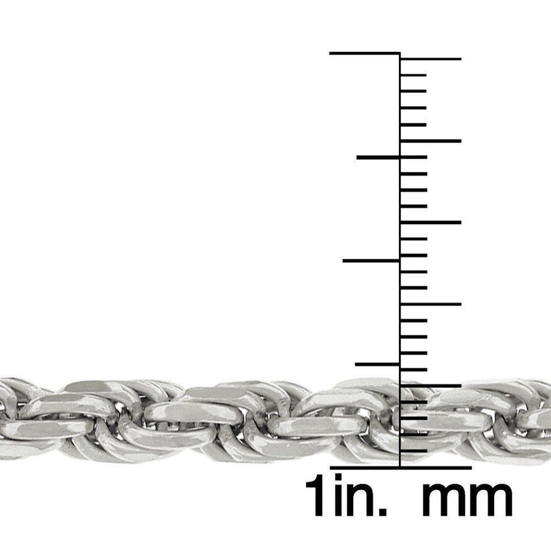 Made In Italy Next Level Jewelry Authentic Solid Sterling Silver 5.5MM Rope Diamond-Cut Link .925 Rhodium Necklace Chains