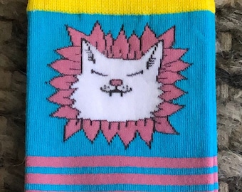 Smiling Flower Kitty Crew Socks - Unisex