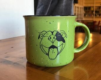 Smiling Pitbull Ceramic Campfire Mug 15oz - Lime Green