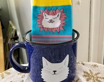 Smiling Kitty Campfire Mug and Smiling Kitty Socks Bundle