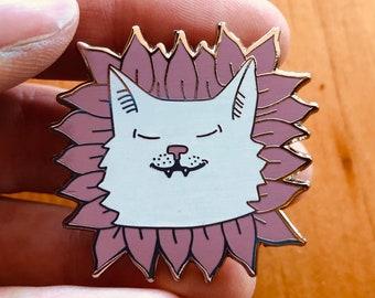"""Flower Power!!! Cat Pin 1.5"""" Hard enamel"""