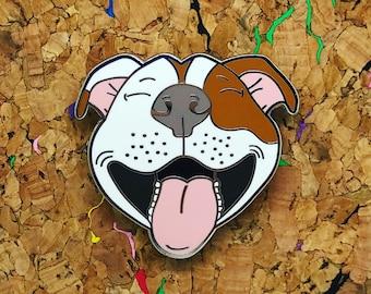 "Smiling Pitbull 1.5"" Hard enamel pin"