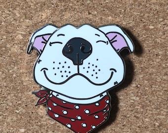 "Smiling Pitbull with Bandana 1.5"" Hard enamel pin"