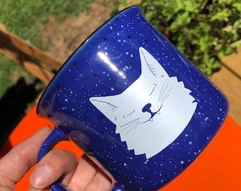 Smiling Kitty Ceramic Campfire Mug 15oz - Royal Blue