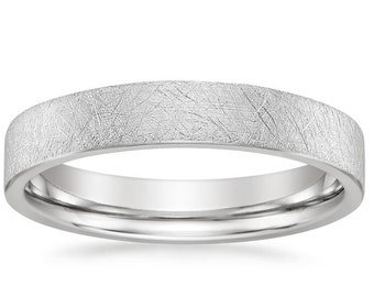 18K White Gold mens and womens plain wedding bands 2.5mm non comfort-fit light