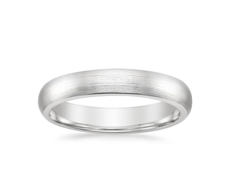 4mm | PLAIN Comfort Fit Men/'s Women/'s Wedding Ring Matte Brushed Rounded Dome 14k White Gold Band