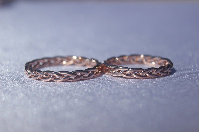 Rose Gold Basic Wedding Band Simple His and Her/'s Gold Wedding Band 14k Rose Gold Braided Twist Wedding Ring