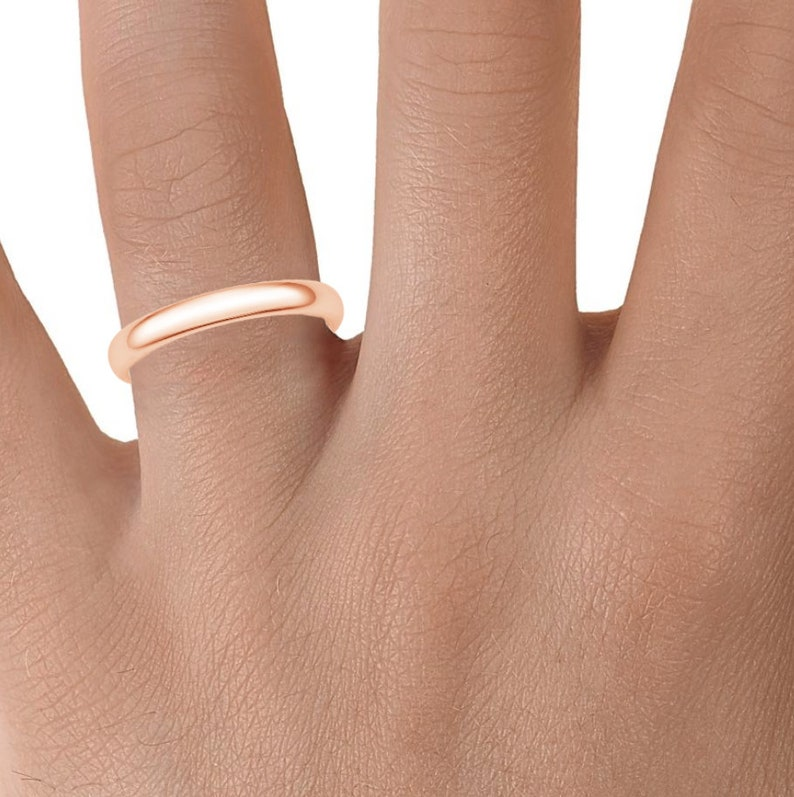 | PLAIN 14k Rose Gold Band Polished Rounded Dome 3mm Men/'s Women/'s Wedding Ring Simple Comfort Fit