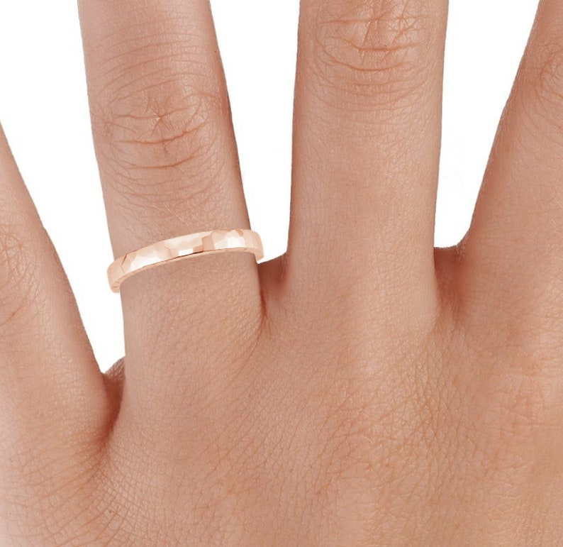 14k Hammered Faceted Rose Band Ring Minimalist Wedding Jewelry  Matte Band Mens Womens  Dainty Rings Matte Simple Pink Rings For Women