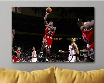 8688b429b Michael Jordan Jersey Number 45 vs New York Knicks Poster Canvas Print Art  Decor