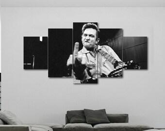 30ac7637e Johnny Cash Finger Music Famous #3 Poster Canvas Print Art Decor Wall