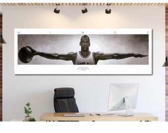 6b3cce04021bb9 Original Designed Michael Jordan Wings Panoramic Five Piece Poster Canvas  Print Home Decor Wall  1