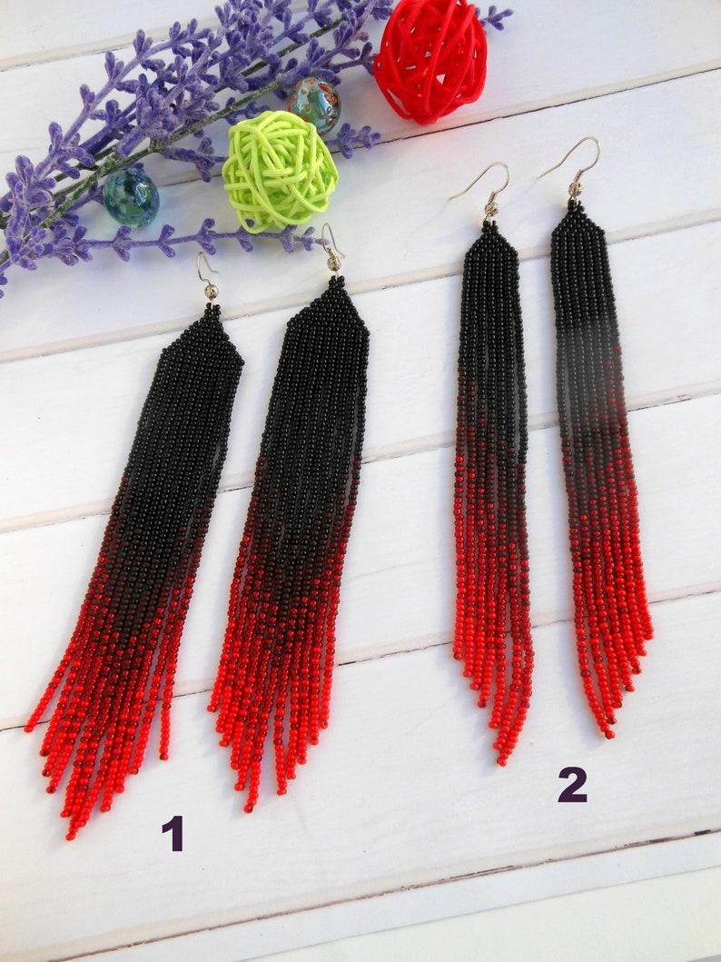 Boho earrings dangle Long ombre earrings seed bead earrings Extra long red earrings Shoulder earrings Beadwork earrings mother day gift