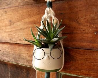 JEANNINE - small model - Macramé pendant lamp for green plant - Interior and exterior decoration - BOHEME