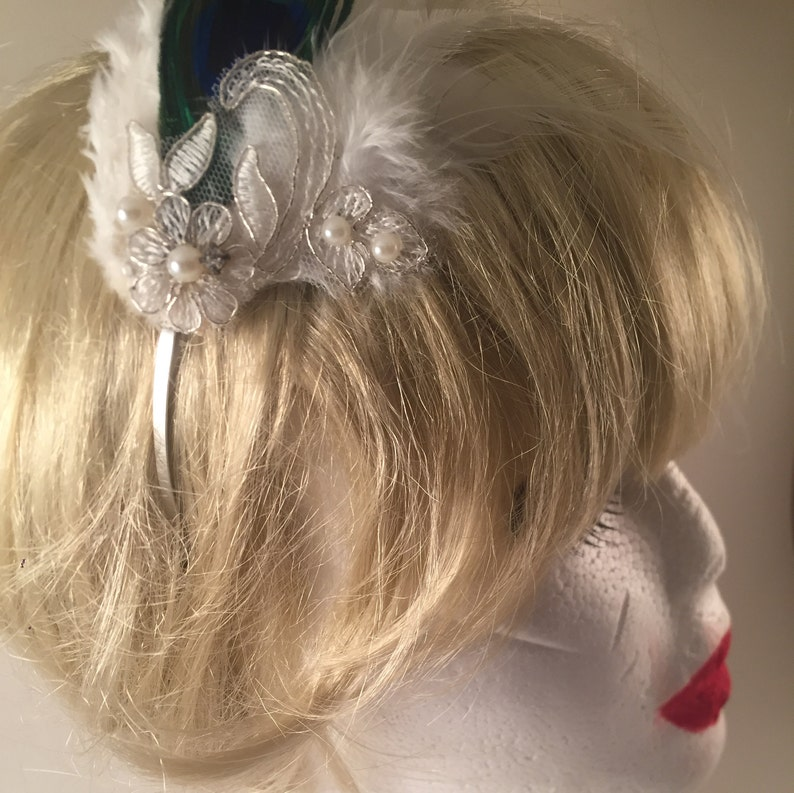 Serena Peacock feather headband,feather headband,
