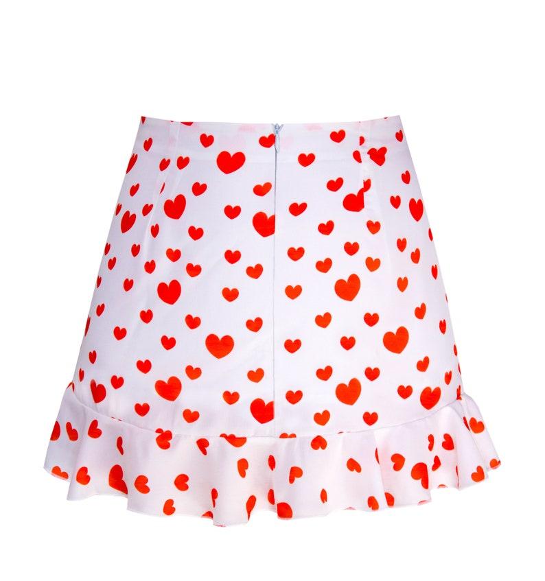 Jfashion casual lolita Chiffon Skirt Harajuku HEARTS fairy kei Heart pastel colorful Frill Valentines sweet kawaii