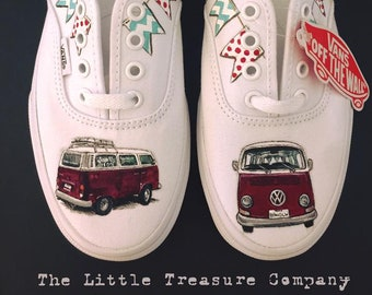 b23319ccff Custom hand-painted classic car genuine Vans or Converse high-tops shoes -  personalised gift Kombi Truck