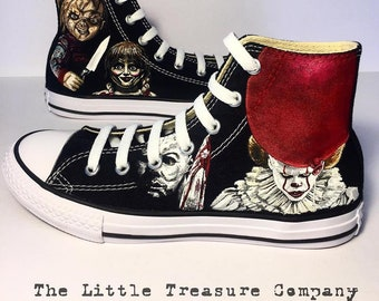 14eb81e46783 Custom hand-painted HORROR genuine Converse high-tops shoes - personalised  gift for horror fans