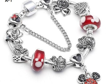 ac92cc353 Mickey and Minnie Charm Bracelet With Marano Beads Fit, Original Pandora  Bracelet For Adults and Kids, Special Birthday Gifts or Vacation