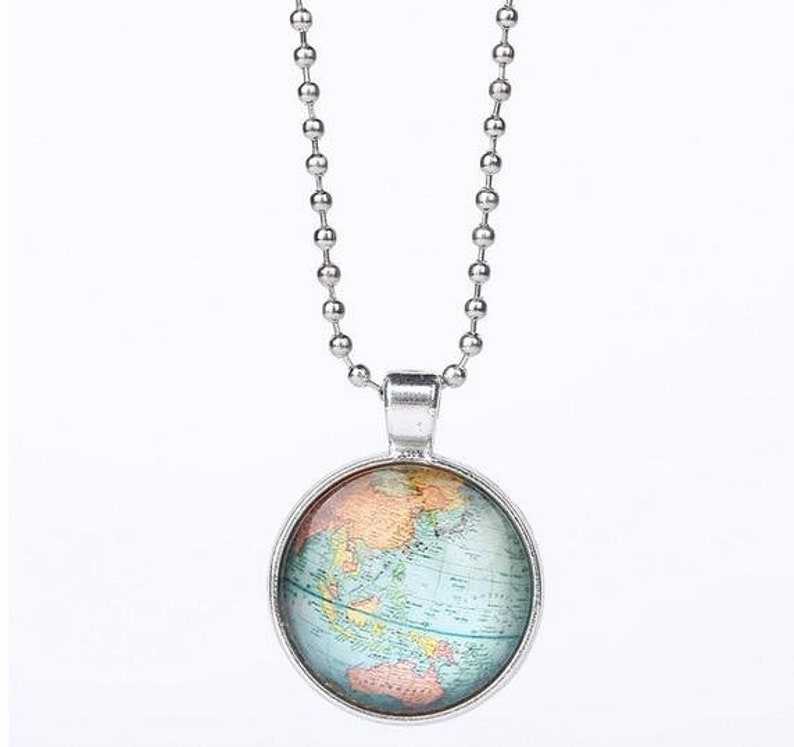 Unique Silver Color Globe Map Pendant Necklace With Beads Chain Simple Long Necklace For Women Fashion glass dome Jewelry Gift