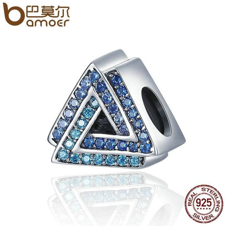 New Arrival 100/% 925 Sterling Silver Geometric Triangle Gradual Change Blue CZ Beads fit Charm Bracelet jewelry