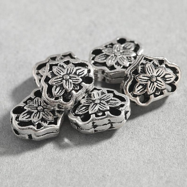 8x10.5mm Hand Made Charm Beads Sterling Silver Hollow Flower Beads Spacer Diy Jewelry Making Necklace Accessories 2pcsLot