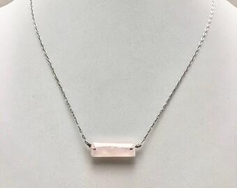 rose quartz bar necklace, gemstone bar necklace, rose quartz necklace, rose quartz bar necklace silver, rose quartz layering necklace silver