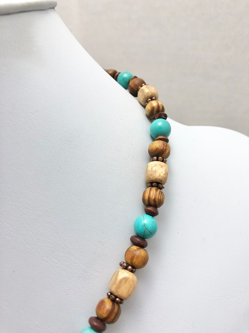 wood necklace ceramic bead necklace tribal bead necklace brown wood necklace tribal tribal necklace wood bead necklace wood jewelry