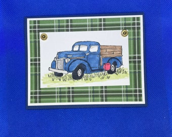 Hand colored Antique Blue Truck Masculine Blank Card | Any Occasion Card