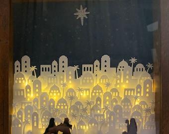 3D Night in Bethlehem Lighted Shadow Box