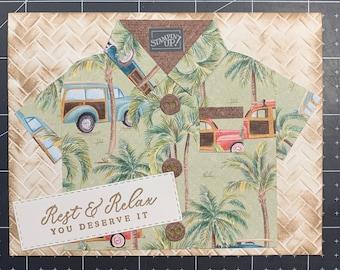 Brown and Green Hawaiian Shirt Masculine Card | Blank Card | Any Occasion Card