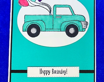 Teal and Black Masculine Truck Birthday Card