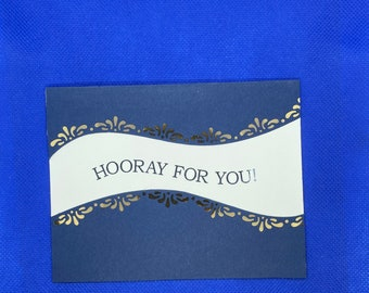 Navy and Gold Congratulations Card | Graduation Card | Any Occasion Card | Blank Card