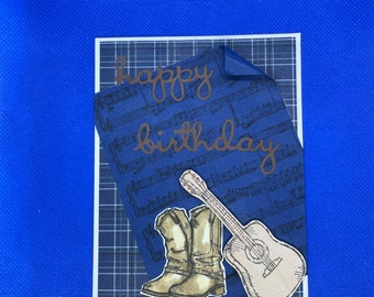 Country Music Sheet with Boot and Guitar Masculine Birthday Blank Card