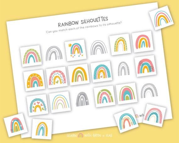 Rainbow Silhouette Match // Toddler Busy Binder // Preschool