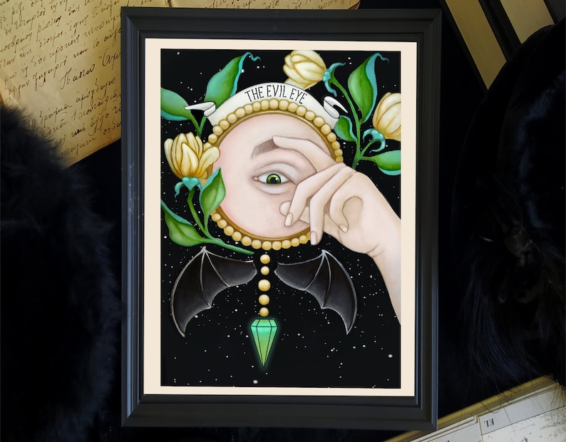 the evil eyewitchy print witchy wall decor occult art image 0