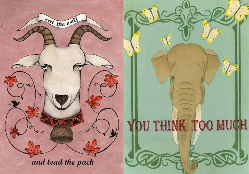 elephant spirit animal card collection pop surrealism inspirational quote stationery retro Lowbrow animal portrait postcard set goat