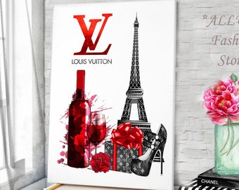 b795eff3cff5 Fashion Wall Art Champagne Prints Louis Vuitton Canvas Champagne Wall Art  Louis Vuitton Wall Art Louis Vuitton Art Fashion Prints Wall Art