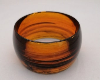 Wide Amber vintage bangle chunky apple juice big bracelet early plastic lucite marbled jewelry gift for girlfriend wife present for her