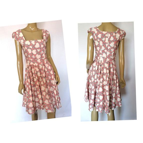 Heart and flower vintage dress - 50s dress -  40s