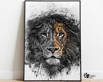 Lion wall art Lion Print Lioness Print Safari Print Black and White Lion printable watercolor wall art Abstract wall Art.