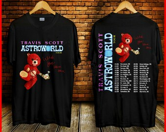 44aa0886f51 New Travis Scott T Shirt Astroworld Wish You Ware Tour Dates 2019 Black T- Shirt For Fan Limited Red Bear