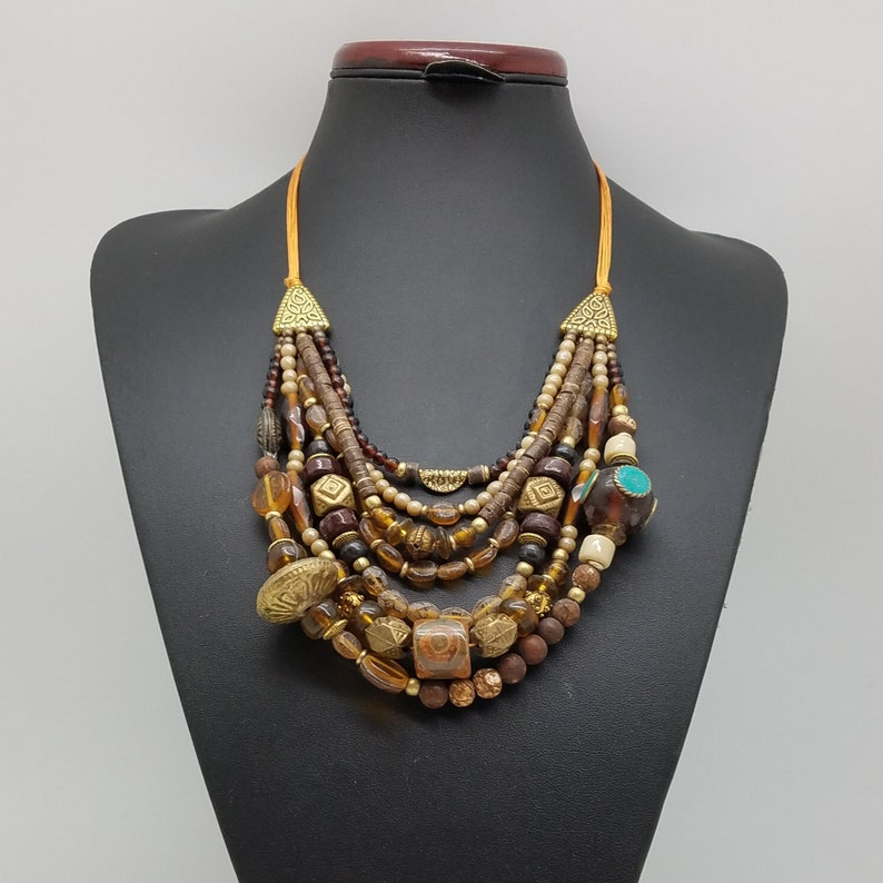 Bold Chunky Necklace Collier femme Native American Indian Jewelry Cadeau Maitresse Long Layered Necklace Mothers Day Gift